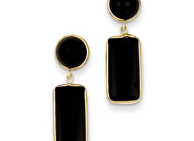 14k Onyx Rectangle Dangle Post Earrings
