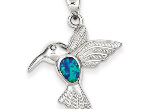Ster. Silv. Blue Inlay Created Opal Hummingbird