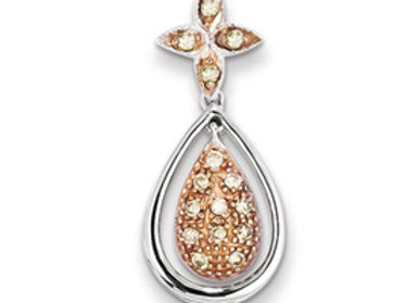 Sterling Silver & Rhodium Diamond Pendant
