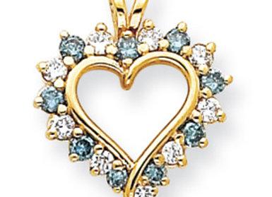 14k Blue Diamond/AA Heart Pendant