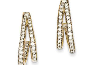 14k Two-Tone Diamond Post Earrings