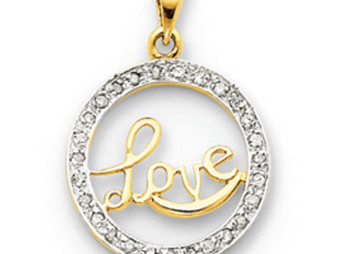 14k Diamond Circle Love Pendant