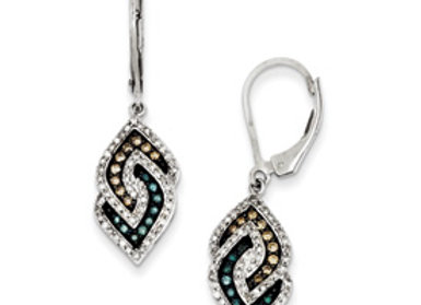 Sterling Silver White, Champagne & Blue Diamond