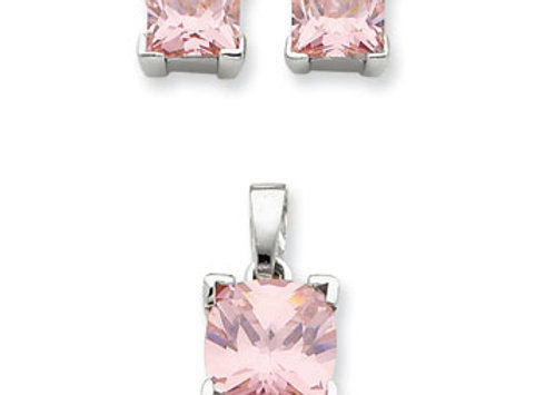 Sterling Silver Pink CZ Pendant & Earring Set