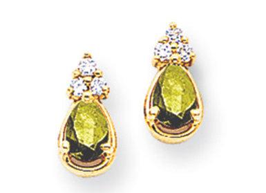 14k 5x3mm Oval Peridot VS Diamond Earrings