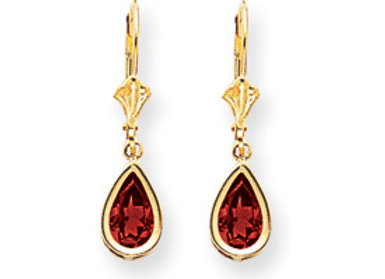 14k 8x5mm Pear Ruby Leverback Earrings