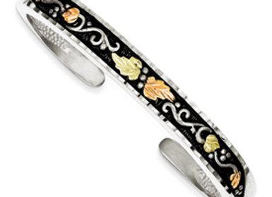 Sterling Silver & 12K Antiqued Cuff Bracelet