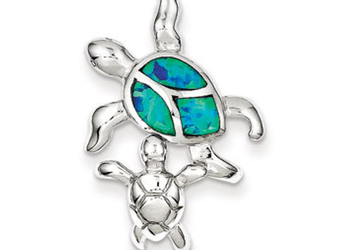 Sterling Silver Blue Inlay Created Opal Turtle