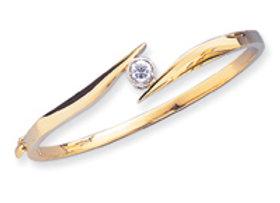 14k Two Tone A Diamond Bracelet