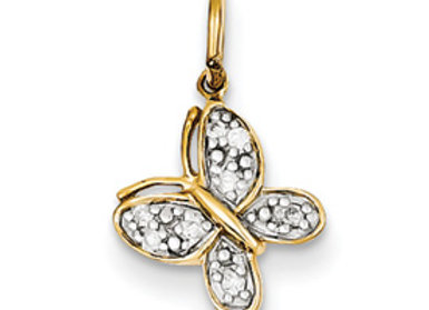 14k Diamond Butterfly Charm