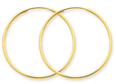 14k 1.25mm Endless Hoop Earrings