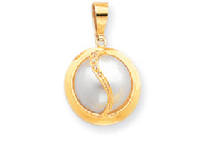14k 14-15mm Cultured Mabe Pearl & Diamond Pendant