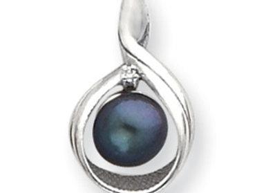 14k White Gold 7mm Black Pearl A Diamond Pendant