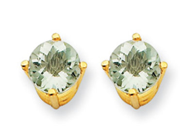 14k 5mm Round Green Amethyst Earrings