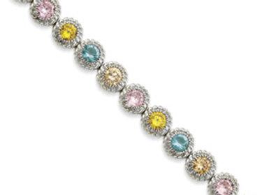 Sterling Silver 7inch Multi-Color CZ Bracelet