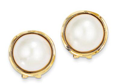 14k 14-15mm Cultured Mabe Pearl Earrings