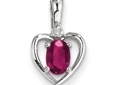 14k White Gold Genuine Ruby Diamond Pendant