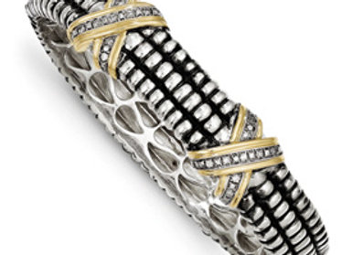 Sterling Silver W/14k 1/4ct. Diamond Bangle