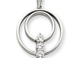 14k AAA White Gold Diamond Pendant