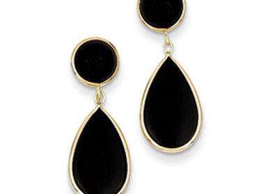 14k Onyx Teardrop Dangle Post Earrings