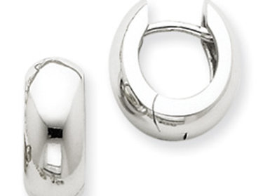 14k White Gold Hinged Hoop Earrings