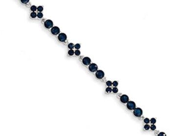 14k White Gold Diamond & Sapphire Bracelet