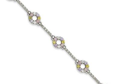 Sterling Silver 7inch Multicolor CZ Bracelet