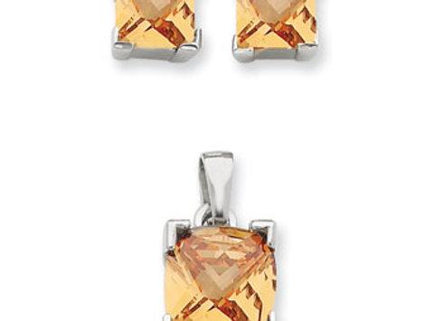 Ster. Silv. Champagne CZ Pendant & Earring Set