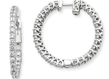 14k WG Diamond Round Hoop w/ Safety Clasp Earrings