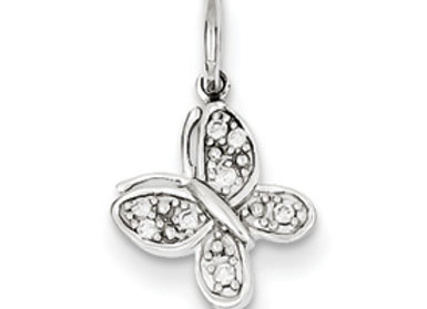 14k White Gold Diamond Butterfly Charm
