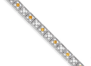 Sterling Silver Citrine Diamond Bracelet