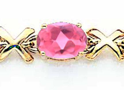 14k 7x5mm Oval Pink Tourmaline Bracelet
