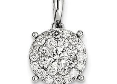 14k White Gold Diamond Round Pendant