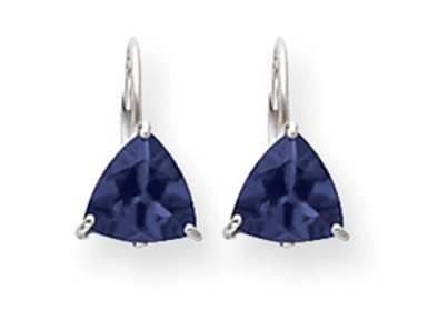 14k White Gold 7mm Sapphire Leverback Earrings