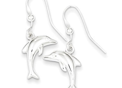 Sterling Silver Polished Dolphin Dangle Earrings