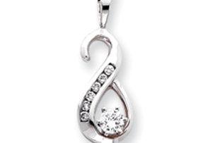 14k White Gold AA Diamond Slide
