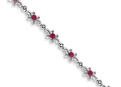 14K White Gold Diamond And Ruby Flower Bracelet