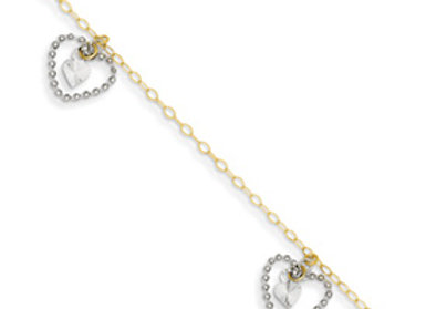 14K Two-Tone Twisted And Diamond Cut Hearts