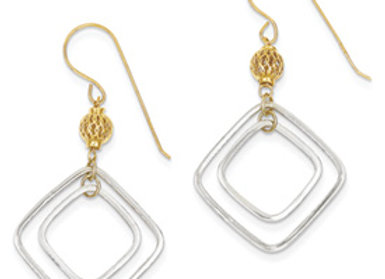 14k Two-Tone Square Dangle Earrings