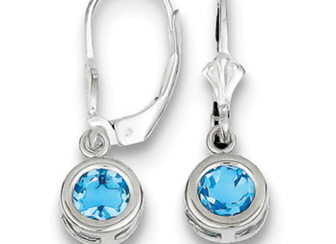 Sterling Silver 6mm Round Blue Topaz Leverback