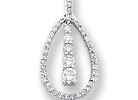 14k White Gold Diamond Journey Pendant