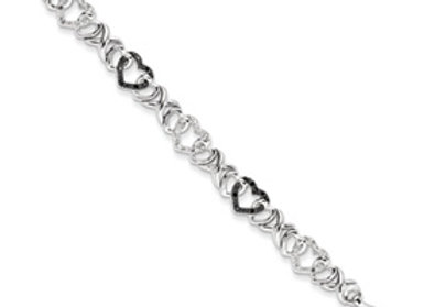 Sterling Silver Black & White Diamond Bracelet