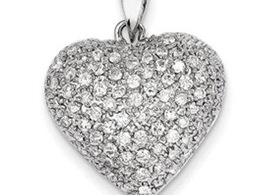 14k White Gold Fancy Diamond Heart