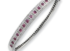 14k White Gold Pink Sapphire & Diamond Bangle