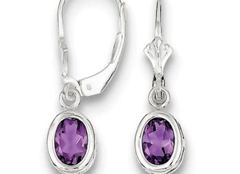 Sterling Silver 7x5mm Oval Amethyst Leverback