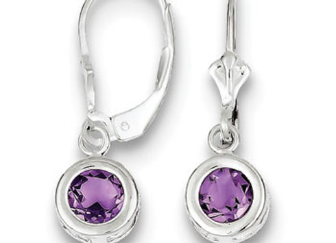 Sterling Silver 6mm Round Amethyst Leverback