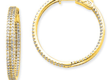 14k Diamond Round Hoop w/ Safety Clasp Earrings