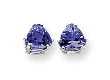 14k White Gold 7mm Sapphire Earrings