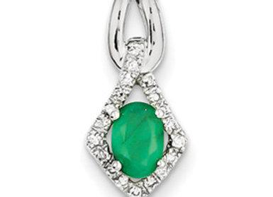 14k White Gold Diamond & Emerald Pendant