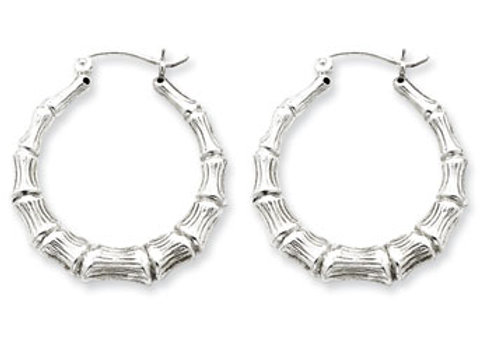 Sterling Silver Rhodium-Plated Bamboo Hoop